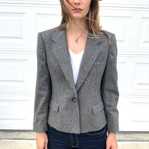 Evan Picone   Wool One Button Blazer Grey